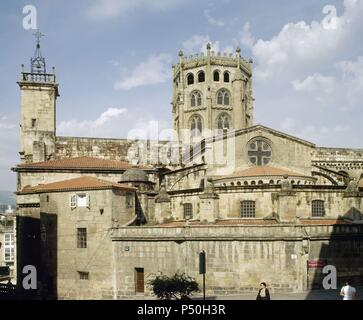 Spain. Galicia. Orense. East side of the Cathedral with dome (15th century). - Stock Photo