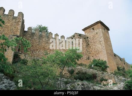 Spain. Aragon. Alquezar. Ruins of the castle, built by the moors in the 9th century. - Stock Photo
