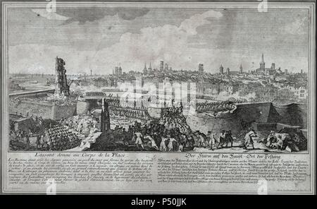 War of Spanish Succession (1702-1715). Entry of the troops of Philip V in Barcelona in 1714, opening gaps in the wall of the city with guns and mines, to render the place. Drawing by P. Rigaud and engraving by M. Engelbrecht, 1722. Historical Museum of Barcelona. Catalonia. Spain.