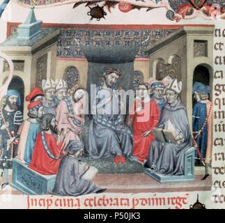 Alfonso IV of Aragon called 'the kind' (1299-1336). King of Aragon and count of Barcelona as Alfonso III, from 1327 to his death. Son of James II and Blanche of Anjou. Detail from a folio of 'Codex of the Usages' depicting  the Catalan Parliament assembled in Montblanc on 18 June, 1333 under the chairmanship of the king. Paeria Municipal Archives. Lleida. Catalonia. Spain. - Stock Photo