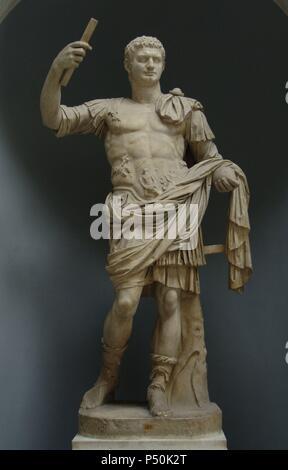 Domitian (Titus Flavius Domitianus), (51-96). Roman Emperor from 81 to 96 A.C. Flavian dynasty. Statue as Emperor. Braccio Nuovo Collection.,  Chiaramonti Musum. Vatican Museum. Vatican City. Italy. - Stock Photo