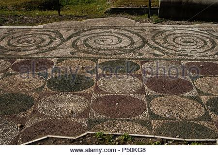 Italy. Rome. Baths of Caracalla. Ancient Roman public leisure centre. Building during reigns of Septimius Severus and Caracalla. 212-217 AD. Fragment of mosaic. - Stock Photo