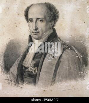 Mathieu Orfila (1787-1853). Spanish toxicologist and chemist. Engraving. Royal Academy of Medicine. Madrid. Spain. - Stock Photo