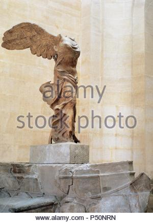 Greek art. Winged Victory of Samothrace or Nike of Samothrace. 2nd century BC. Marble. Sculpture of the greek goodess Nike (Victory). Museum of Louvre. Paris. - Stock Photo