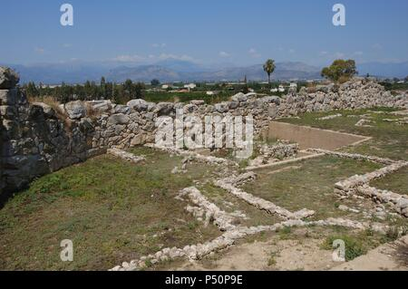 Greece. Tiryns. Mycenaean city (3rd millennium B.C.). Ruins. Peloponnese. - Stock Photo