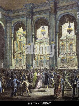 French history. 18th century. Masquerade ball. Party hosted by the city of Paris in honor of King Louis XVI. January 23, 1782. Engraving of 'Paris to travers les ages'. Colored. - Stock Photo