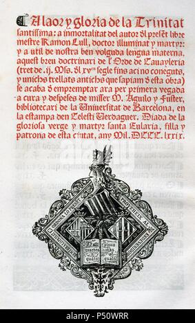 Ramon Llull (1235-1316). Spanish writer and philosopher. Book of cavalry. Manuscript, 15th century. Colophon and anagram. - Stock Photo