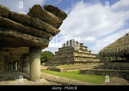 Mexico. Archaeological Site of El Tajin. Founded in the 4th century, achieved its greatest splendor between 800 and 1200. Pyramid of the Niches. Near Papantla. Veracruz State. - Stock Photo