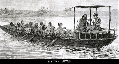 Stanley and Livingstone in a canoe from the village Ujiji in Ruzizi river. Engraving. - Stock Photo