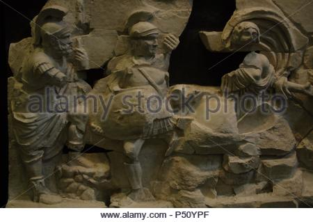 Frieze of the Basilica Emilia depicting episodes of the origins of Rome. 2nd century BC. Roman National Museum. Palazzo Massimo. Rome. Italy. - Stock Photo