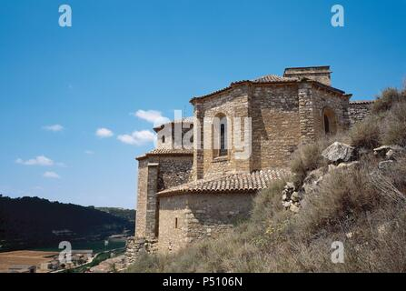 Spain. Catalonia. Guimera. Santa Maria parish church. Built in 14th century. Gothic style. Apse. - Stock Photo