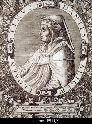 Dante Alighieri (1265-1321). Italian poet. Engraving. National Library. Madrid. Spain. - Stock Photo
