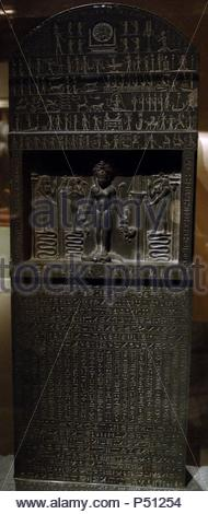 Egyptian Art. The Metternich Stela. Dated between 360 and 342 BC (reign of Nectanebo II). 30th Dynasty. Late Empire. Metropolitan Museum of Art. New York. United States. - Stock Photo