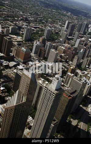 ESTADOS UNIDOS. CHICAGO. Vista aérea de los rascacielos de la zona norte del centro de la ciudad. Estado de Illinois. - Stock Photo