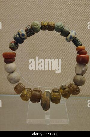 Necklace. Middle Ages. National Museum of the Early Middle Ages (Museo dell' Alto Medioevo). Rome. Italy. - Stock Photo