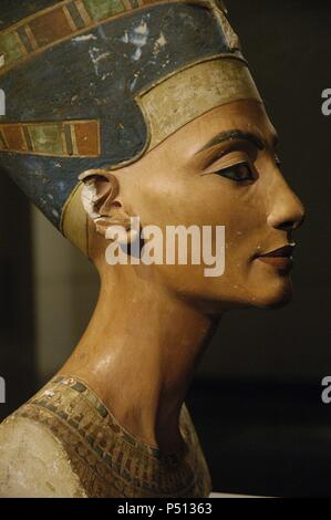 Egyptian art. Nefertiti. 14th century B.C. Egyptian Princess, wife of Amenhotep IV Akhenaton. Bust. Limestone and stucco. It is believed to have been crafted in 1345 BC by the sculptor Thutmose. New Kingdom. 18th Dynasty. It comes from Tell-el-Amarna. Egyptian Museum of Berlin (Neues Museum). Germany. - Stock Photo