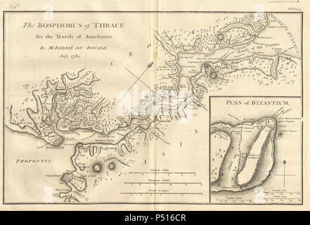 1784 Bocage Map of The Bosphorus and the City of Byzantium - Istanbul - Constantinople - Geographicus - Bosphorus-white-1793. - Stock Photo