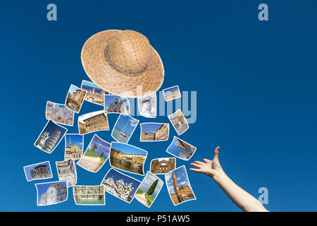 The Female Hand Is Throwing A Straw Hat From Which Fly The Photos