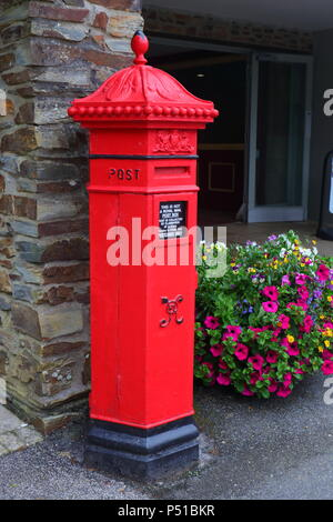 Penfold Post Box privately owned and situated at the entrance to Flamards Theme Park & Victorian Village in Cornwall - Stock Photo