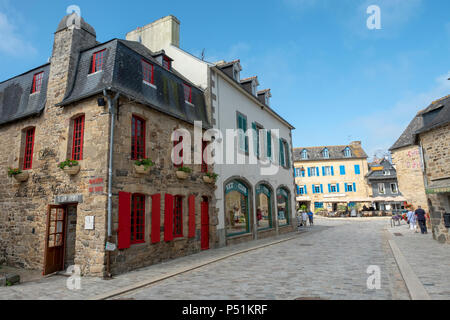 Le Faou town centre in the Finistère department of Brittany in north-western France - Stock Photo