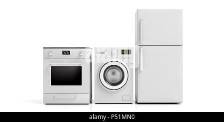 White home appliances set isolated on white background. 3d illustration - Stock Photo