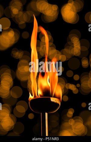 close up shot of burning flaming torch. - Stock Photo