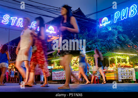 Tourists in Pub street, Siem Reap, Cambodia - Stock Photo
