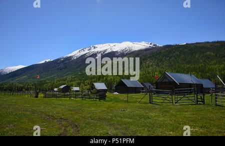 Tuvan village, Kanas Lake National Park, Xinjiang, China - Stock Photo