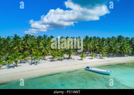 Aerial view of tropical island beach, Dominican Republic - Stock Photo