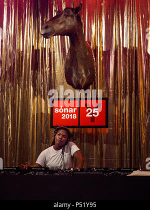 Nídia performance during Sónar by Day, Sonar Music Festival 2018, June 14th - Stock Photo