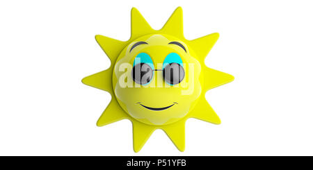 f241dc6b4f49 Summer concept. Emoji sun yellow with black round sunglasses smiling ...