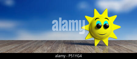 Summer concept. Emoji sun yellow with black round sunglasses smiling, on a wooden dock and sky background, banner, copy space. 3d illustration. - Stock Photo