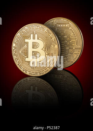 Bitcoin on black background with reflection. Obverse and reverse - Stock Photo