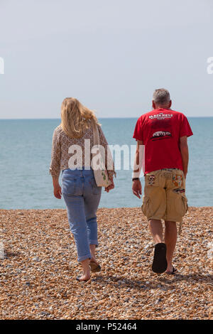 Hastings, East Sussex, UK. 24th Jun, 2018. UK Weather: Hot and sunny weather in Hastings, East Sussex with lots of people heading out to the beach.  Temperatures are expected to exceed 20°C. Photo Credit: PAL Images / Alamy Live News - Stock Photo