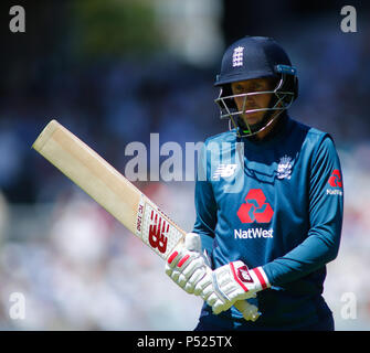 Manchester, UK. 24th June, 2018. Sunday 24th June 2018 , Emirates Old Trafford, 5th ODI Royal London One-Day Series England v Australia; Joe Root  of England leaves the field frustrated of play after been dismissed by Australia. Credit: News Images /Alamy Live News - Stock Photo