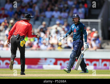 Emirates Old Trafford, Manchester, UK. 24th June, 2018. One Day International Cricket, 5th Royal London ODI, England versus Australia; Jonny Bairstow is out for 12 runs bowled by Billy Stanlake of Australia Credit: Action Plus Sports/Alamy Live News - Stock Photo