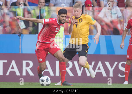 Moscow, Russia. 23rd June, 2018. Ferjani SASSI (left) vs. Kevin DE BRUYNE (BEL), action, duels, Belgium (BEL) - Tunisia (TUN) 5: 2, preliminary round, Group G, match 29, on 23.06.2018 in Moscow; Football World Cup 2018 in Russia from 14.06. - 15.07.2018. | usage worldwide Credit: dpa/Alamy Live News - Stock Photo