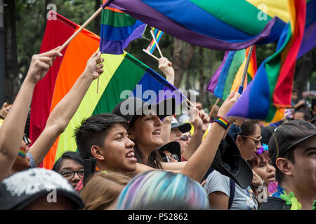 Mexico City, Mexico. 23rd June, 2018. Participants of the Mexican Gay Pride Parade with rainbow flags. Soccer fans and the Gay Pride Parade celebrated together after Mexico's second victory in the FIFA World Cup 2018. Credit: Jesús Alvarado/dpa/Alamy Live News - Stock Photo
