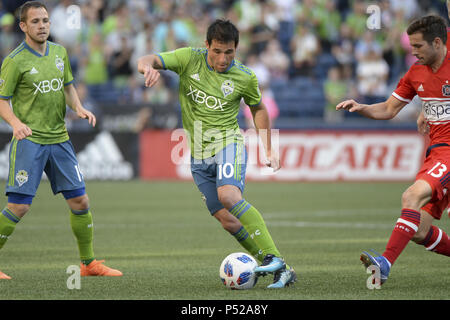 Seattle, Washington, USA. 23rd June, 2018. Seattle's NICO LODEIRO (10) in action as the Chicago Fire visits the Seattle Sounders in a MLS match at Century Link Field in Seattle, WA. Credit: Jeff Halstead/ZUMA Wire/Alamy Live News - Stock Photo