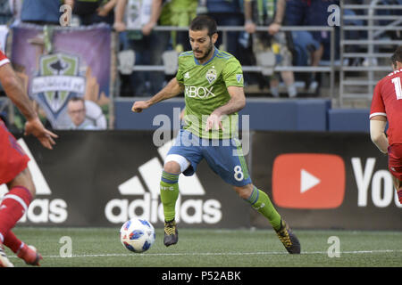 Seattle, Washington, USA. 23rd June, 2018. Seattle's VICTOR RODRIGUEZ (8) in action as the Chicago Fire visits the Seattle Sounders in a MLS match at Century Link Field in Seattle, WA. Credit: Jeff Halstead/ZUMA Wire/Alamy Live News - Stock Photo