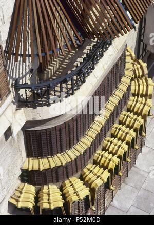 ARTE SIGLO XIX. MODERNISMO. ESPAÑA. GAUDI, Antoni (Reus, 1852-Barcelona, 1926). PALAU GÜELL. Residencia urbana de la familia de Eusebi GÜELL, fue construído entre 1885 y 1889. Detalle de la FACHADA. BARCELONA. Cataluña. - Stock Photo