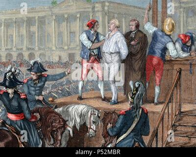 French Revolution. Execution of King Louis XVI (1754-1793) on January 21, 1793. Colored engraving. - Stock Photo