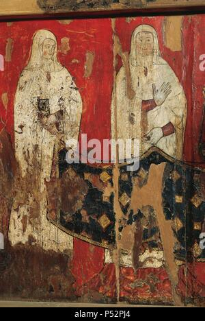 Linear Gothic. Spain. 14th century. Priory chair of Blanche of Aragon and Anjou (c.1301-1348), nun and prioress. Over the seat, detail depicting a prioress asisted by a nun with a book in her hands. 1322. It comes from the Monastery of Santa Maria de Sigena (Huesca). Aragon. Diocesan and Regional Museum of Lleida. Catalonia. - Stock Photo