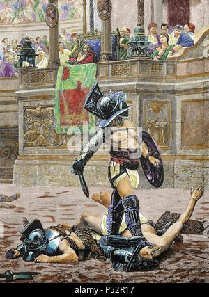 Fighting gladiators. Engraving after a painting 'Pollice Verso' by the French painter Jean-Leon Gerome (1824-1904). Detail. Colored. - Stock Photo