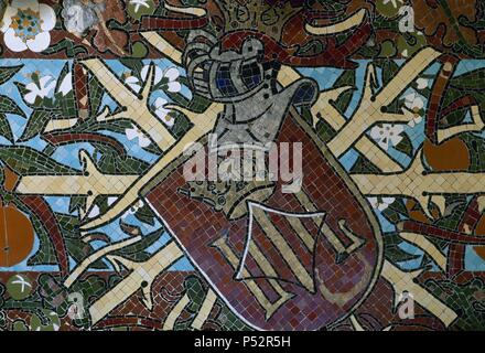 Spain. Barcelona. Fonda Espan_a. Opened in 1859, it was renovated by the modernist architect Luis Domench i Montaner (1850-1923) between 1898-1903. Glazed mosaic frieze. Detail. Restaurant. - Stock Photo