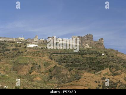 Syria. Castel of Qalaat Marqab. Built by the muslims in 1062. Later the crusader castle. Near Tartus. - Stock Photo