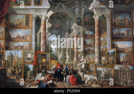 Giovanni Paolo Panini (1691-1765). Italian painter. Picture gallery with views of Modern Rome. 1758. Museum of Louvre. Paris. France. - Stock Photo