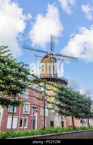 Windmill in Dordrecht, Netehrlands - Stock Photo