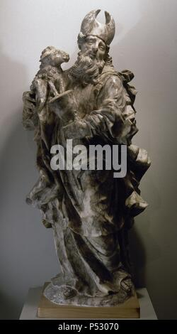 Aaron. Older brother of Moses and High Priest of the Israelites. Sculpture by Josep Sunyer (1673-1751), spanish baroque sculptor. Alabaster. 1715. Historical Museum of Manresa Cathedral. Spain. - Stock Photo