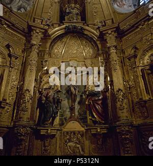 Spain. Cantabria. Limpias. Church of St. Peter. Altarpiece. Image of The Christ of Limpias. - Stock Photo